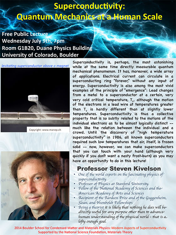 "Quantum Mechanics at a Human Scale"" in Duane Physics Building, Rm. G1B20 on Wednesday, July 9, 2014 at 7pm"