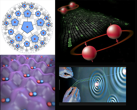 Holographic pentagon code, Pastawski, et al. JHEP 2015; Quantum teleportation, Nature Physics 2006; Artistic Conception of Ultracold Molecules in Optical Lattices, JILA 2017; and Computing with Quantum Knots, Scientific American 2006.