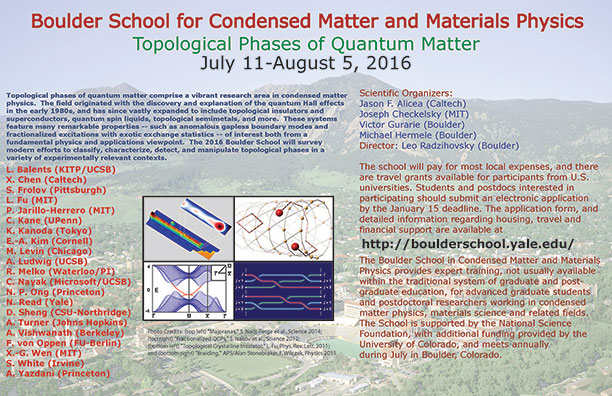 Poster for 2016 Boulder School for Condensed Matter and Material Physics